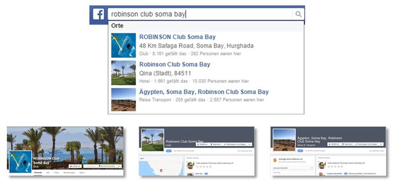 Beispiel Robinson CLub Soma Bay Zusammenführung Fanpages