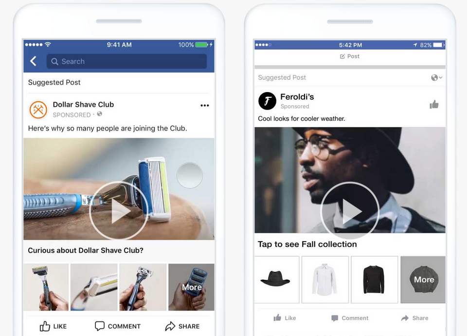 Facebook Collection Ad Beispiele