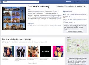 Beispiel eines eigenständigen Facebook Ortes am Beispiel der Stadt Berlin