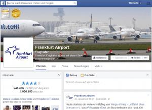 Facebook Ort mit Fanpage am Beispiel Frankfurt Airport