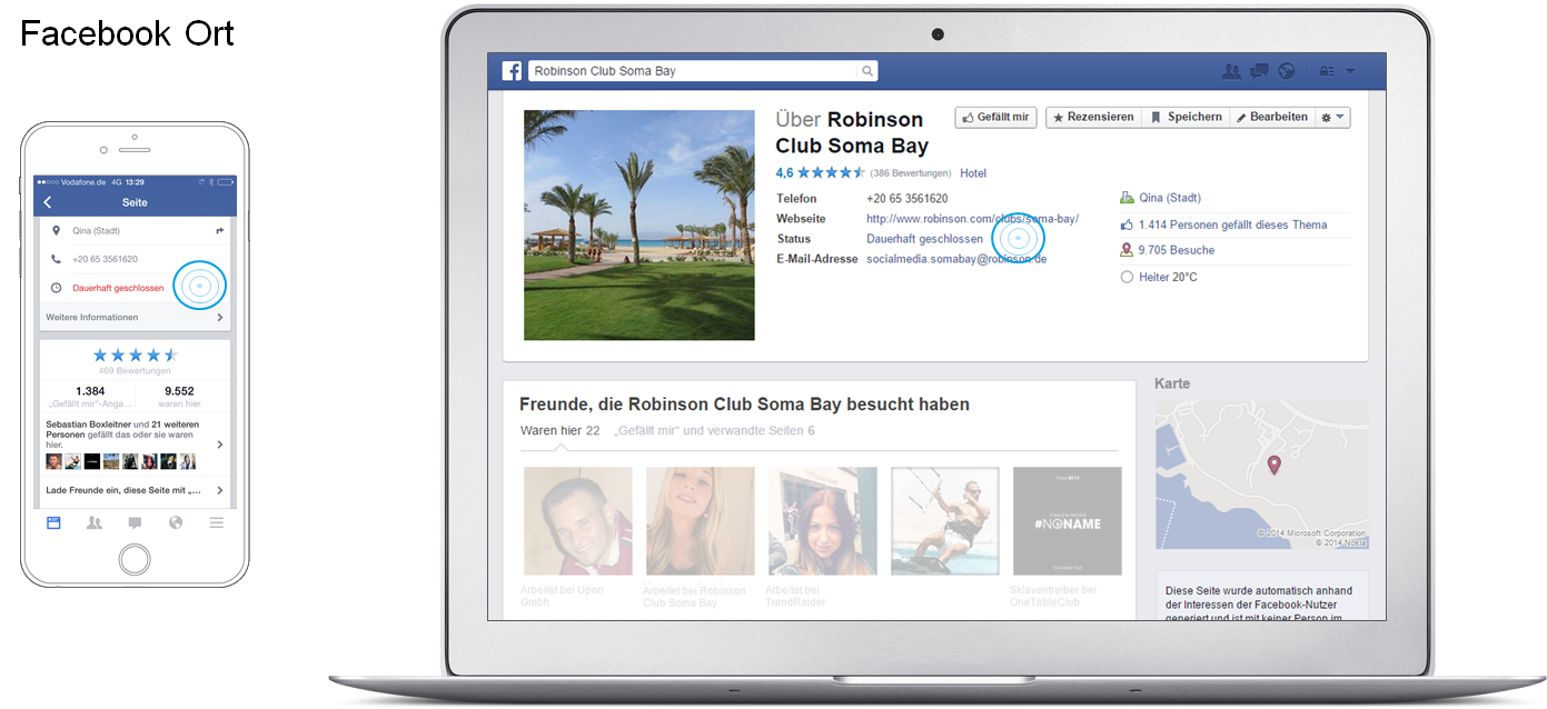 Facebook Places - Beispiel Robinson Club Soma Bay Ort