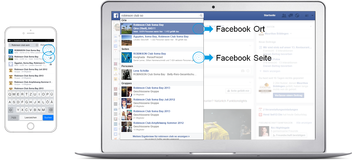 Facebook Places - Beispiel Search Robinson Club Soma Bay desktop und mobil