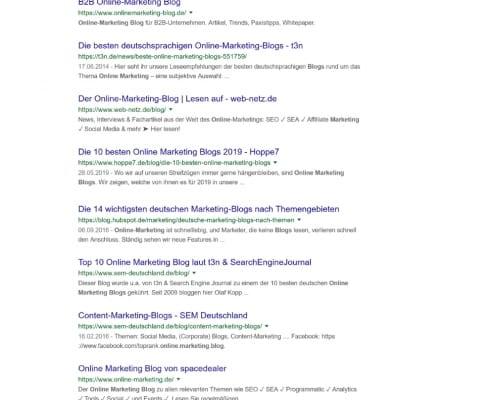 Google Suche nach Keyword
