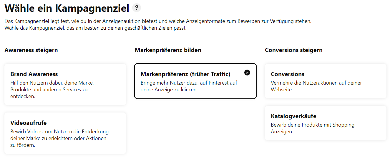 Pinterest Marketing Kampagnenziele