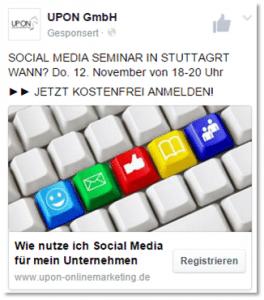 UPON Blog Lead Ads - Anzeigenvorschau